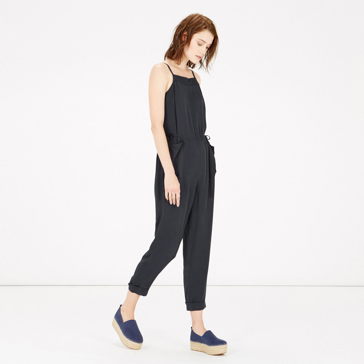 Warehouse, Utility Tie Side Jumpsuit Navy 1