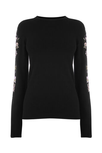 Warehouse, EMBROIDERED SLEEVE JUMPER Black 0
