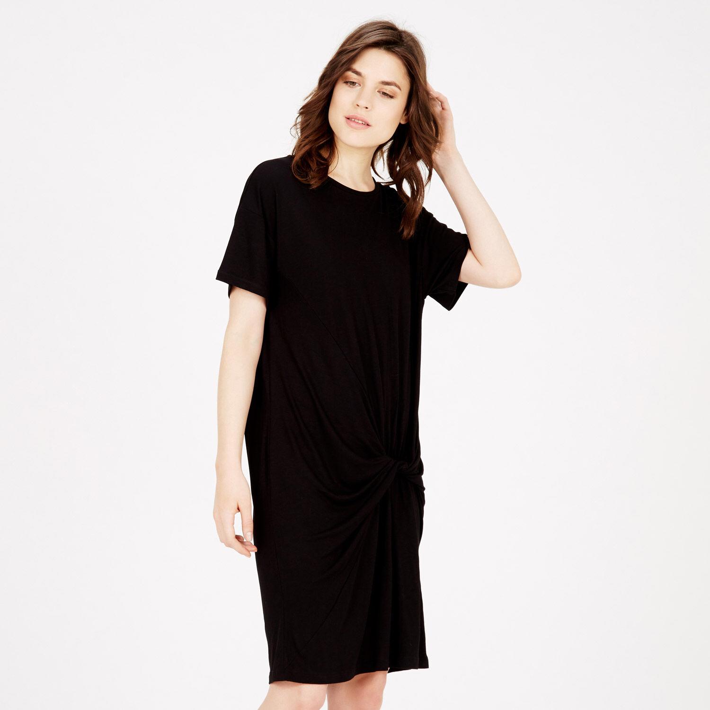 Warehouse, TWIST FRONT DRESS Black 1