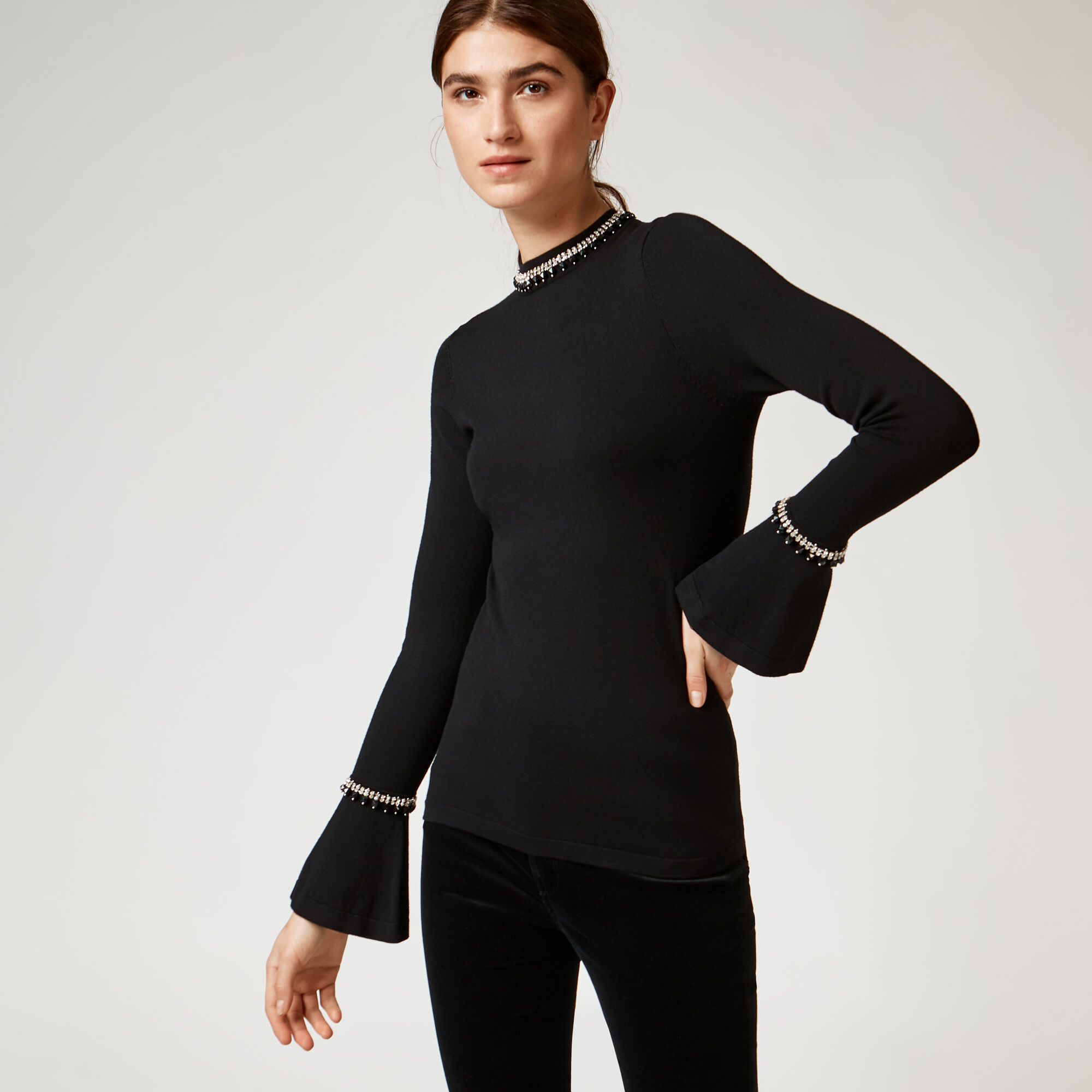 Warehouse, EMBELLISHED FLARE CUFF JUMPER Black 1