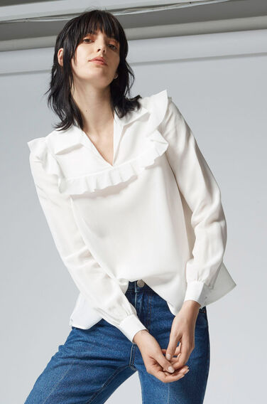 Warehouse, SILK RUFFLE YOKE BLOUSE Cream 1