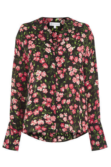 Warehouse, CHERRY BLOSSOM TOP Black Pattern 0