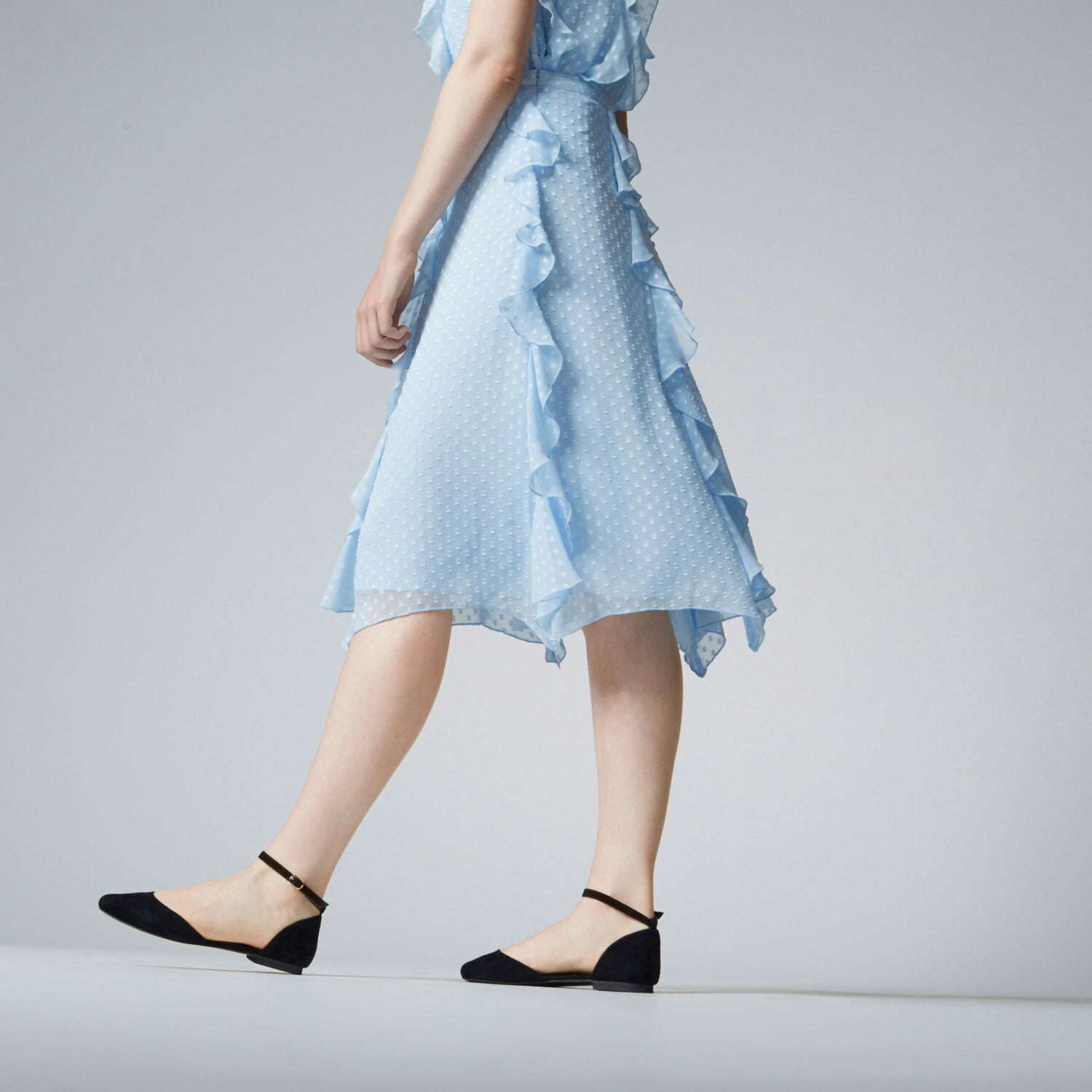 Warehouse, RUFFLE SPOT MIDI SKIRT Light Blue 1