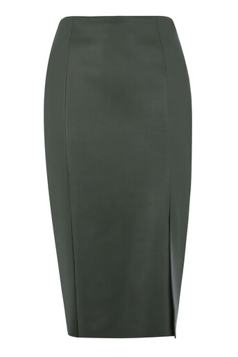 Warehouse, Faux Leather Pencil Skirt Khaki 0