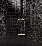 Warehouse, Double Buckle Detail Tote Bag Black Pattern 3