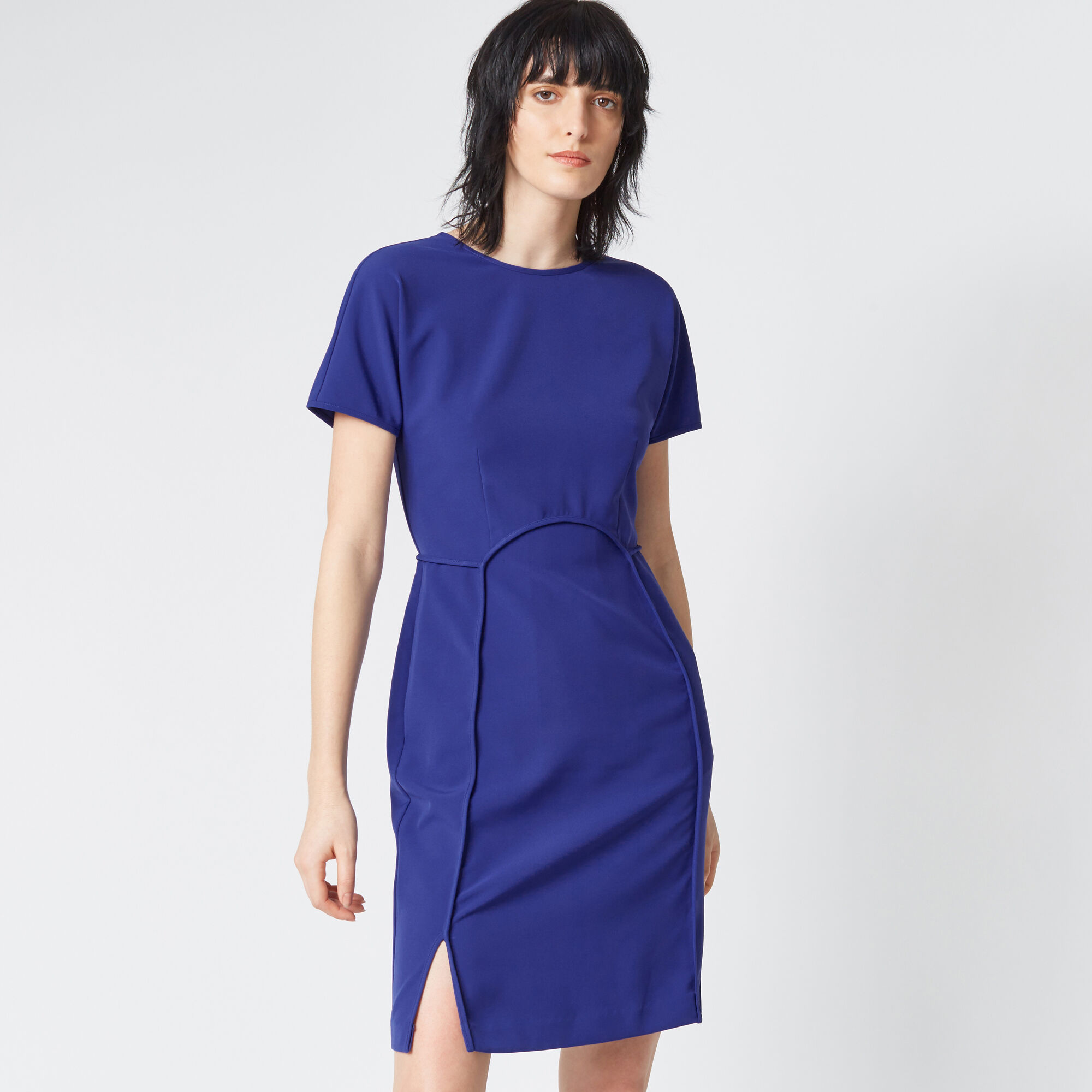 Warehouse, SHORT SLEEVE SEAM DRESS Bright Purple 1