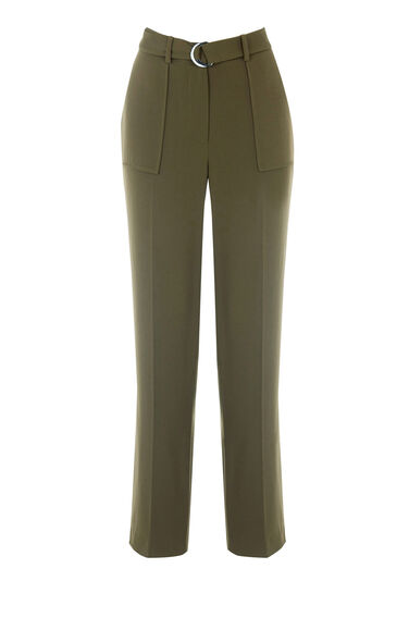 Warehouse, STRAIGHT LEG TROUSERS Dark Green 0