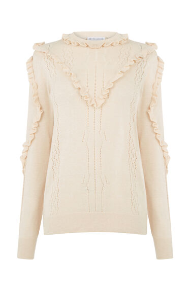 Warehouse, Frill Pointelle Jumper Stone 0