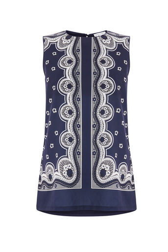 Warehouse, BANDANA PRINT SHELL TOP Navy 0