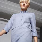 Warehouse, BRUSHED COTTON SHIRT DRESS Light Blue 4