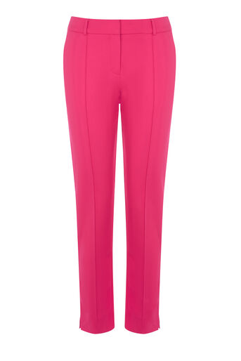 Warehouse, COMPACT COTTON TROUSERS Dark Pink 0