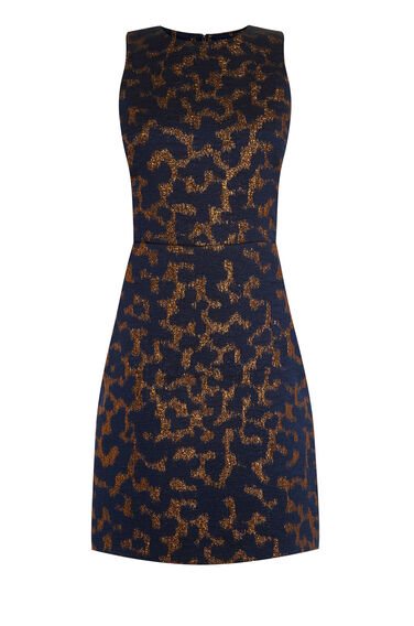Warehouse, CAMO ANIMAL JACQUARD DRESS Navy 0