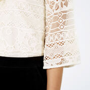 Warehouse, HIGH NECK LACE TOP Cream 4