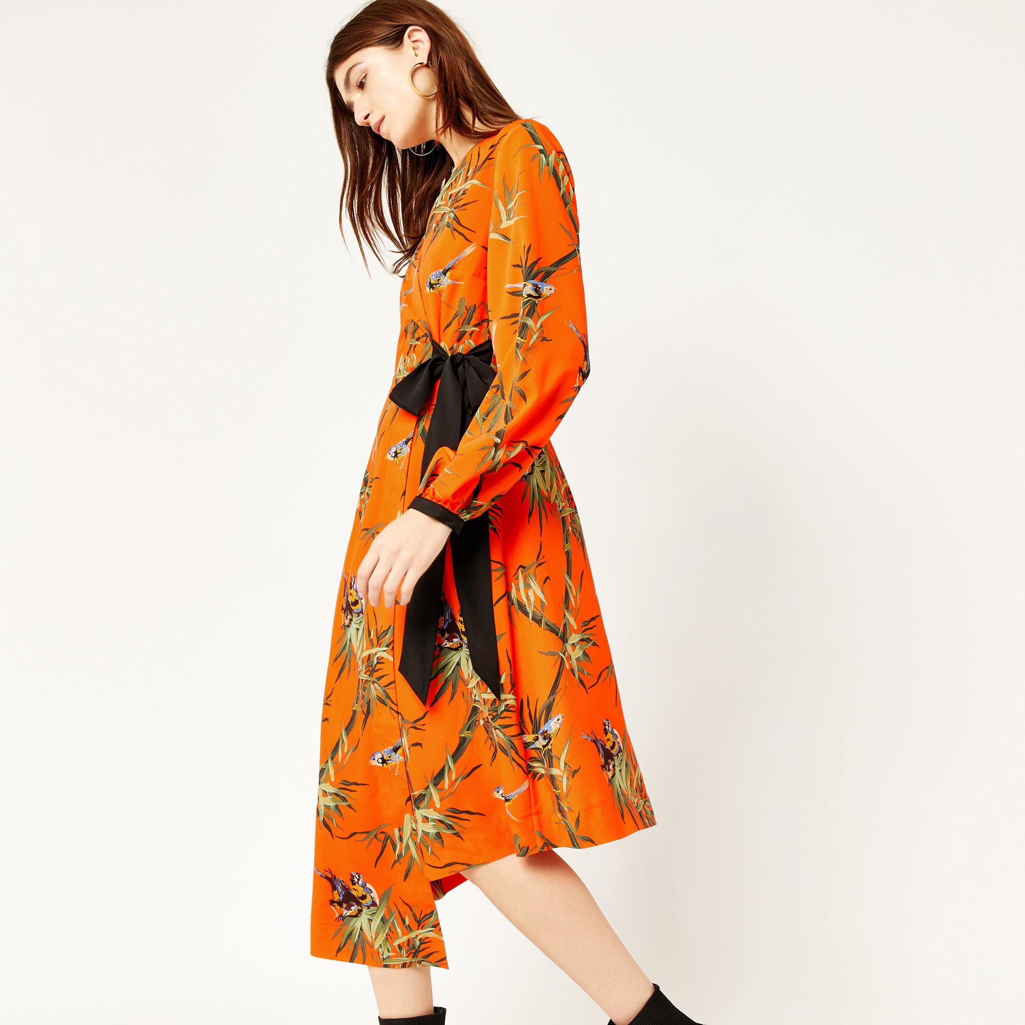 Warehouse, SONGBIRD WRAP MIDI DRESS Orange 1