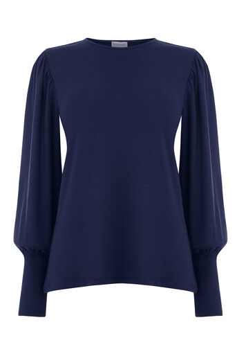 Warehouse, PUFF LONG SLEEVE TOP Navy 0