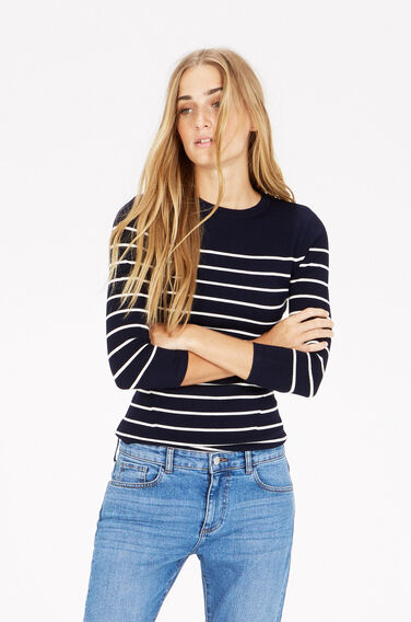 Warehouse, BRETON STRIPE CREW JUMPER Navy 1
