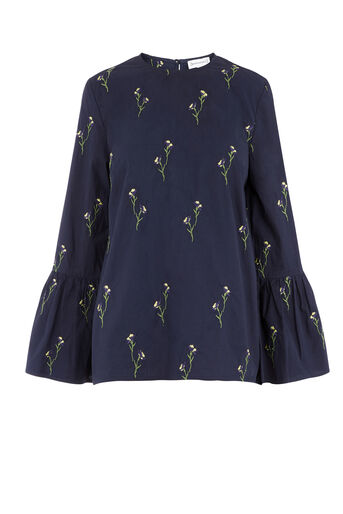 Warehouse, EMBROIDERED COTTON TOP Navy 0