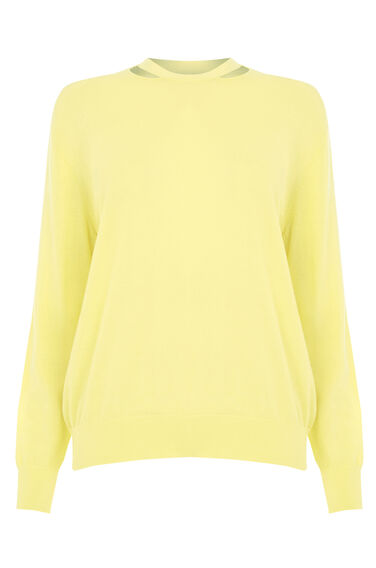 Warehouse, SPLIT NECK CREW JUMPER Lemon 0