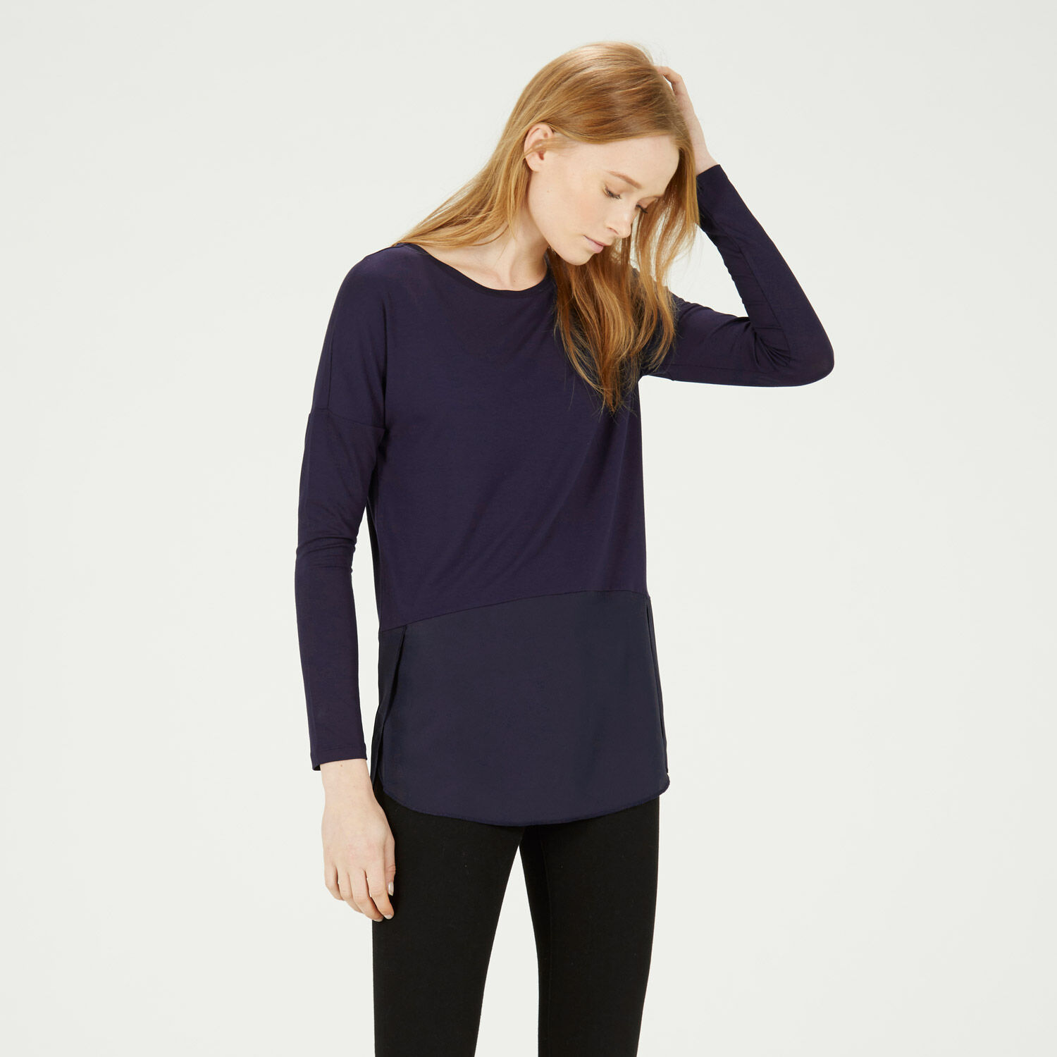 Warehouse, WOVEN MIX LONG SLEEVED TOP Navy 1