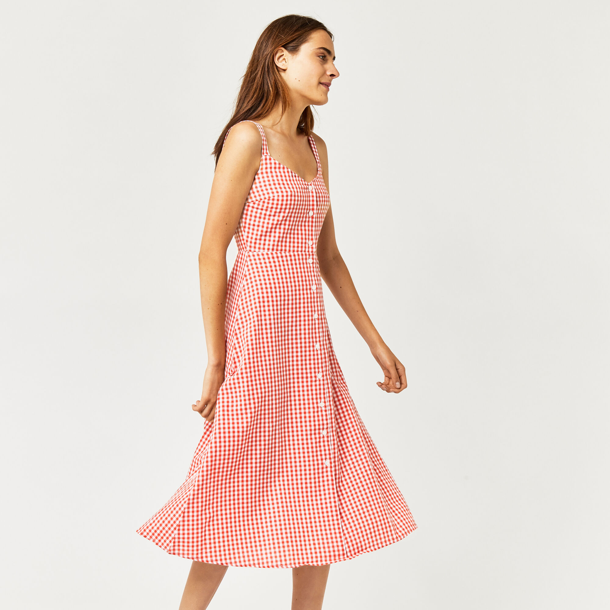 Warehouse, RED GINGHAM DRESS Red Pattern 1
