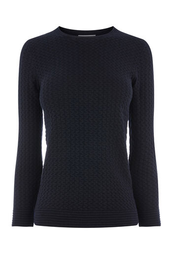Warehouse, RIPPLE STITCH JUMPER Navy 0