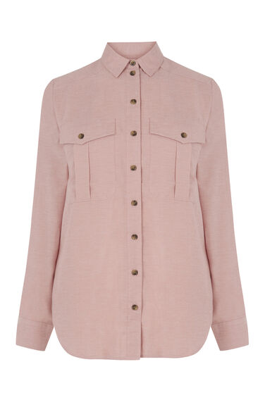 Warehouse, RELAXED POCKET DETAIL SHIRT Light Pink 0