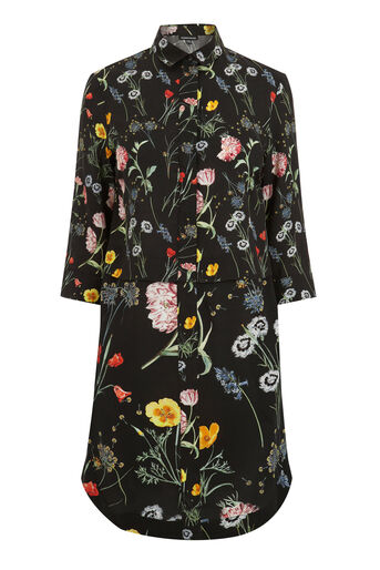 Warehouse, Scatter Floral Shirt Dress Black Pattern 0