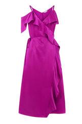 Warehouse, FRILL MIDI DRESS Bright Pink 0