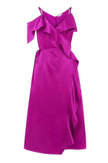 Warehouse, FRILL MIDI DRESS Bright Pink 0