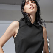 Warehouse, PINSPOT COLLAR DRESS Black 1
