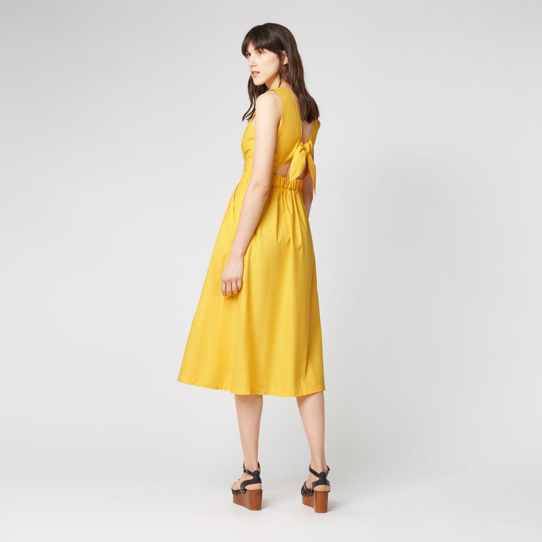 Warehouse, TIE DETAIL COTTON DRESS Yellow 1