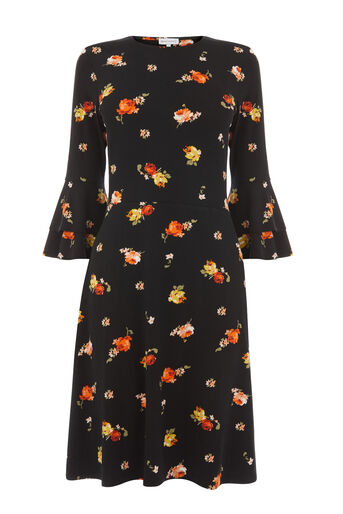 Warehouse, FLORENCE FLUTE SLEEVE DRESS Black Pattern 0