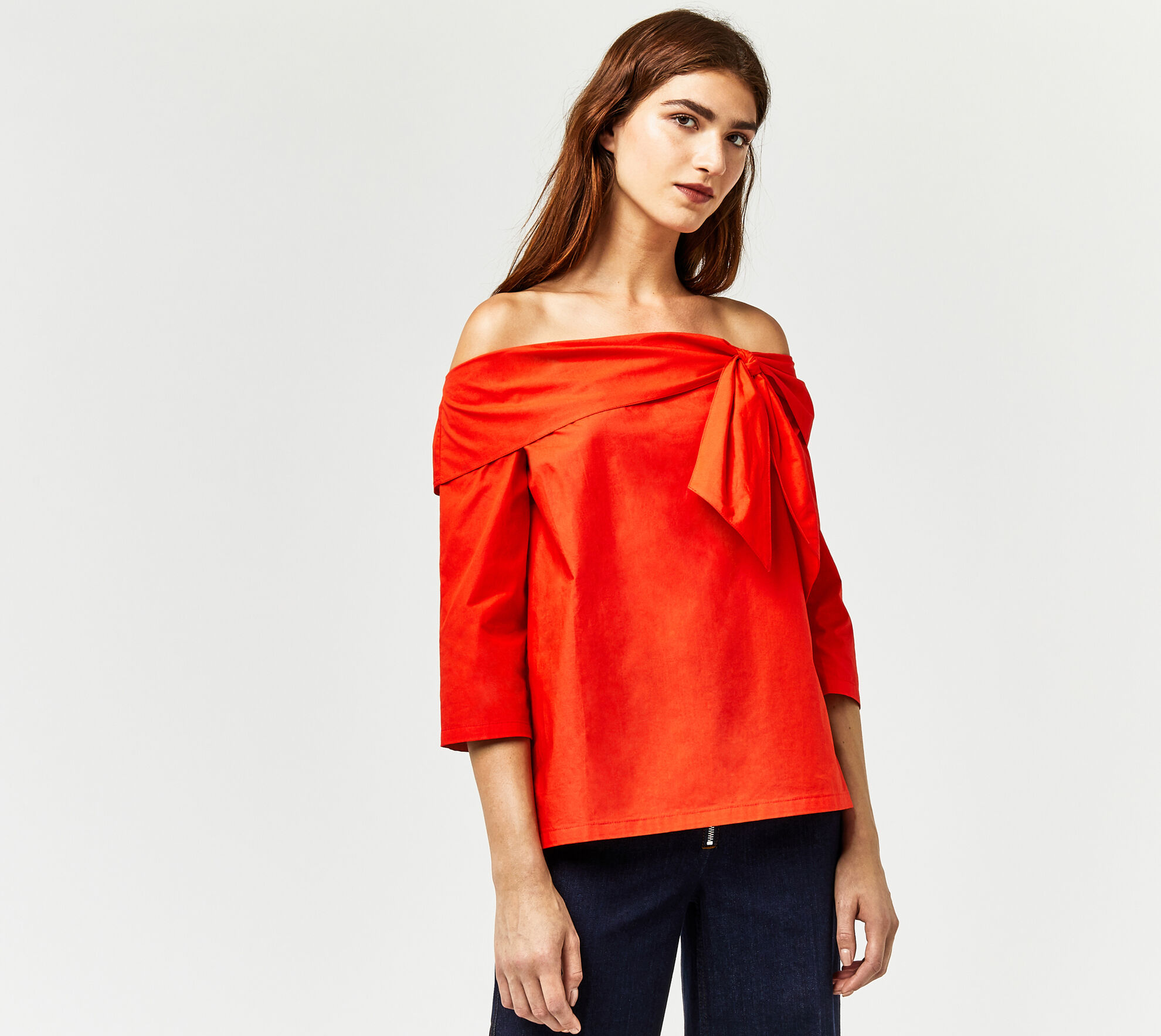 Warehouse, TIE FRONT BARDOT TOP Bright Red 1