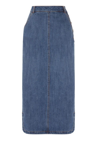 Warehouse, Maxi Denim Skirt Light Wash Denim 0