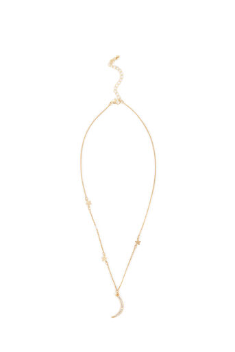 Warehouse, MOON AND STAR DROP NECKLACE Gold Colour 0
