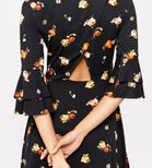 Warehouse, FLORENCE FLUTE SLEEVE DRESS Black Pattern 4