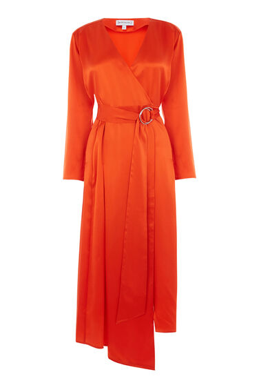 Warehouse, SILK LONG SLEEVE WRAP DRESS Orange 0