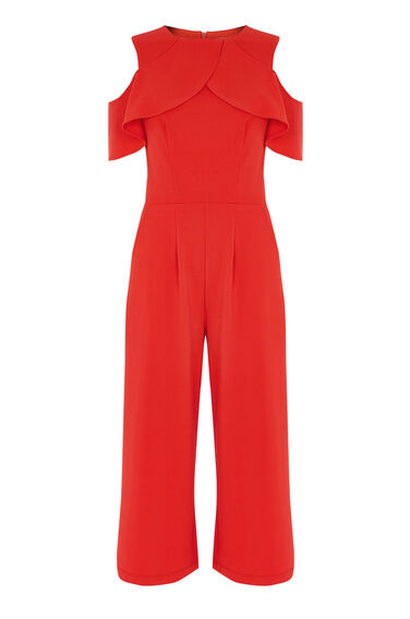 Warehouse, CREPE OVERLAY JUMPSUIT Light Red 0