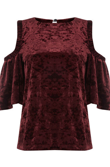 Warehouse, VELVET COLD SHOULDER TOP Berry 0