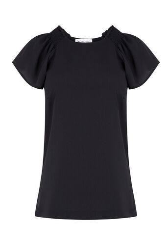 Warehouse, SMOCK DETAIL WOVEN FRONT TOP Black 0