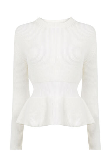 Warehouse, RIB PEPLUM JUMPER Cream 0