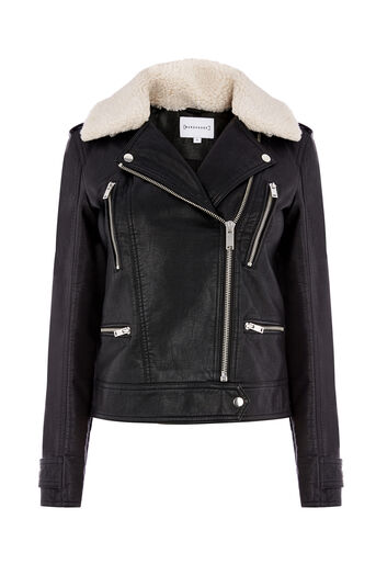 Warehouse, Borg Collar Faux Leather Biker Black 0