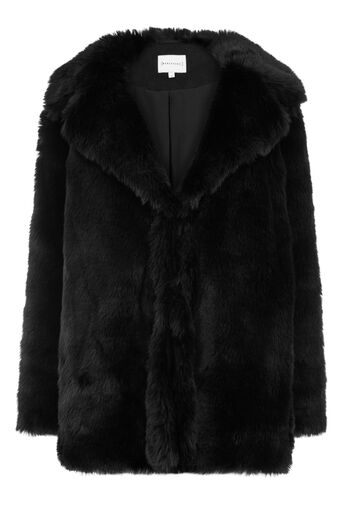 Warehouse, FAUX FUR COAT Black 0