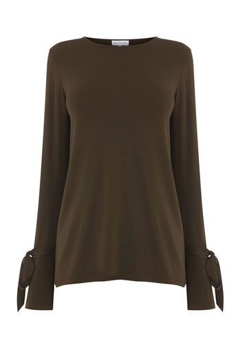 Warehouse, TIE CUFF LONG SLEEVE TOP Khaki 0