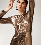 Warehouse, METALLIC KNOT MINI DRESS Bronze Colour 4