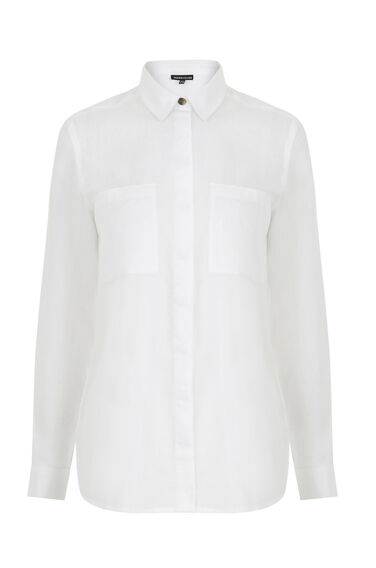Warehouse, Relaxed Curved Hem Shirt White 0