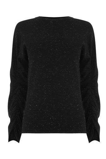 Warehouse, SPARKLE RUCHED SLEEVE JUMPER Black 0