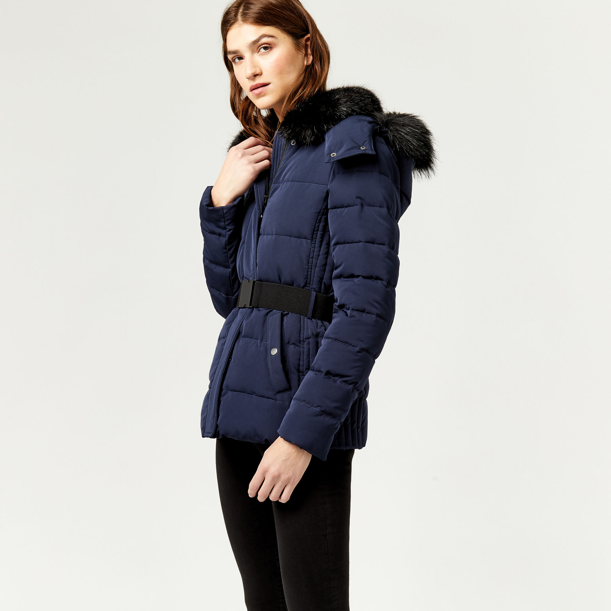 Warehouse faux fur hooded parka black