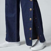 Warehouse, Wide Leg Popper Jeans Indigo Denim 4