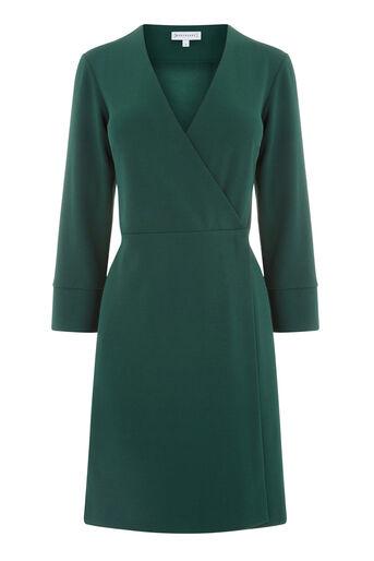 Warehouse, CREPE WRAP DRESS Dark Green 0